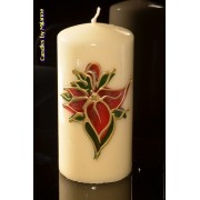 kaarsen: Glas in Lood kaars, Rond, H: 14 cm - Kerst