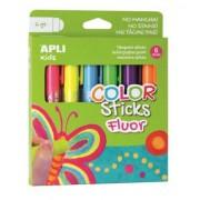 Tempera stift készlet, toll alakú, APLI Kids, 6 különböző fluoreszkáló szín (LCA14404)