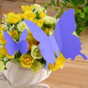 EY 12pcs De La Mariposa 3D Arte Decal Decoración PVC Mariposas Pegatinas De Pared Violet Blue