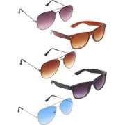 Zyaden Aviator, Aviator, Aviator, Wayfarer, Wayfarer Sunglasses(Violet, Brown, Blue, Brown, Black)