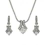 Mahi with Crystals solitaire rhodium plated Pendant set For Women NL1103686R