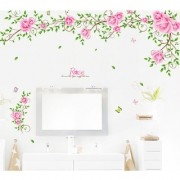 Vinyl Roses Floral Love Vine Romantic Pink Valentines Day Design Wall Sticker