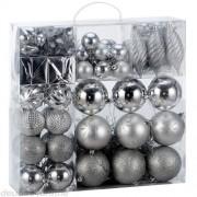 Sada stříbrných vánočních baněk 103ks