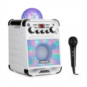 Auna Rockstar LED Equipo de karaoke Reproductor de CD Bluetooth USB AUX 2 x 6,3mm blanco (RM10-Rockstage white)