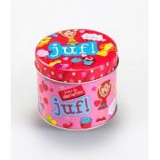 Snoepblikje - Voor de allerliefste Juf! - Gevuld met een snoepmix - In cadeauverpakking met gekleurd lint
