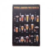 ELECTROPRIMEÃ'® Retro Tin Sign Metal Beer Poster Bar Pub Wall Decor Beers Around The World