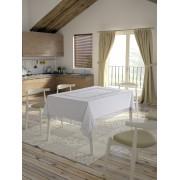 Față de masă Valentini Bianco,160x160 cm, Model cu o broderie Alb