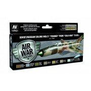 "Vallejo Model Air Paint Set - Soviet/Russian Colors MiG-21 ""Fishbed"" from ""Cold War"" to 90's - 71607"