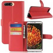 Para Huawei Y6 2018 Litchi Texture Horizontal Flip Funda De Cuero Con Soporte Y Ranuras Para Tarjetas Y Cartera (rojo)