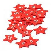"Adventskalender-Zahlen ""Sterne"" aus Holz, rot, 3,5 cm"