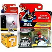 Mariokart Video Game Car Mario with Mushroom Tape Racer & World of Nintendo Boo Super Mario Figure + Blind Box Mystery Micro Figure wave 2 fun Bundle Set