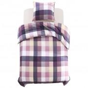 vidaXL Комплект спално бельо, принт на лилаво каре, 140x220/60x70 см
