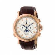 Heritor Automatic Kingsley Leather-Band Watch w/Day/Date - Rose Gold/White HERHR4804