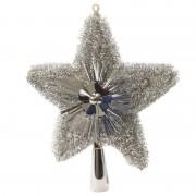 Bellatio Decorations Kerstboom piek glitters zilver 23 cm