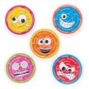 Baker Ross Funny Face Maze Games - 6 Mini Mazes In Assorted Colours. Party Bag Filler Maze Toy. Brain Teasers For Kids. Size 7cm.