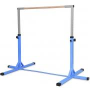 Costway Barre de Gymnastique en Acier Hauteur Réglable de 91 à 150CM Capacité de Poids 100KG Bleu