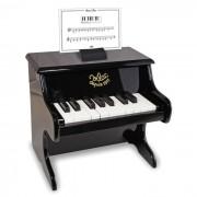 Zwarte piano in hout, 18 toetsen en met partituren 8296