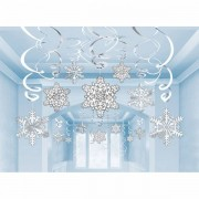 Hangdecoratie sneeuwvlokken Swirl 30 delig
