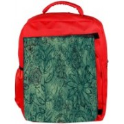 Snoogg Eco Friendly Canvas Abstract Floral Design Designer Backpack Rucksack School Travel Unisex Casual Canvas Bag Bookbag Satchel 5 L Backpack(Red)