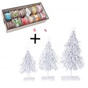 3er Set Dekobäume und Deko Schnurbox, 12 Rollen Weihnachtsbaum Dekotanne 60/28/12cm ~ Variantenangebot