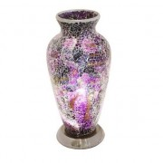 Mosaic Purple and Black Glass Vase Table Lamp