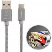 Louis 2.1A 1m De Nylon Tejido C * Cable USB De Sincronizacion De Datos De Carga Rápida Con Cable De Carga Para Samsung / Huawei P9 / Xiaomi 5 / Meizu Pro 5 / LG / HTC Y Otros Smartphones (gris)