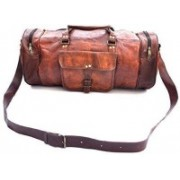 Pranjals House (Expandable) genuine leather 22 Inches Luggage Duffle Bag Travel Duffel Bag(Brown)
