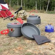 EW OUTAD Cookware que acampa al aire libre Senderismo Cocinar la cacerola del pote de picnic paño de cocina Set