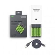 Зарядно устройство/Power Bank 2in1 GP Batteries Charge Anyway X411, за батерии AA/AAA + 4 акум.батерии R6 AA 2600mAh
