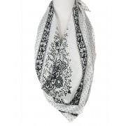 Witte satijnen sjaal met zwart grijze print