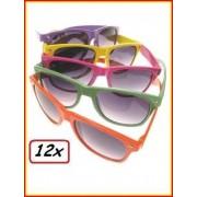 12x Blues brother zonnebril assortie kleuren