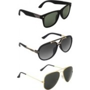Zyaden Wayfarer, Aviator, Rectangular Sunglasses(Green, Black, Black)
