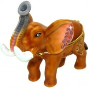 "Objet DArt Release #371 ""Lucky Zou"" Asian Lucky Elephant Handmade Jeweled Enameled Metal Trinket Box"