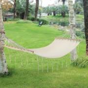 Хамак [casa.pro]® 200x80 cm, до 150 kg, с дървени скоби, Кремав, плетен на ръка