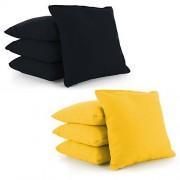 Cornhole Bags Set of 8 by Tailor Spot Corn-Filled ACA Regulation 25+ Colors (Black-Yellow)