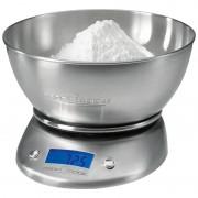 Proficook KW 1040 - Báscula de cocina digital con tazón, 5 kg pasos 1 g, función tara, acero inoxidable