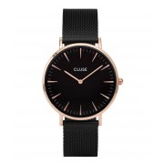 CLUSE Horloges La Boheme Mesh Rose Gold Plated Black Zwart