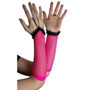 Rękawiczki bezpalcowe z różowej i czarnej siateczki