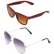 Royal Son Brown Wayfarer and Purple Aviator Unisex Sunglasses Combo
