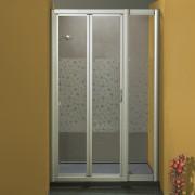 Porta doccia soffietto con fisso in linea 1003/F da 116/124 cm in cristallo 4 mm Brill Satinato