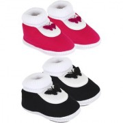 Neska Moda Pack Of 2 Baby Infant Soft Black and Pink Booties For Age Group 0 To 12 Months SK126andSK129