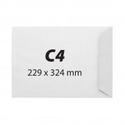 Plic C4, 229 x 324 mm, alb, banda silicon, 100 g/mp, 250 bucati/cutie