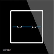 Panou intrerupator dublu cu touch Livolo din sticla - Seria R Negru Fara modul