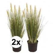 Bellatio flowers & plants 2x Groene grasplant kunstplant 55 cm in pot