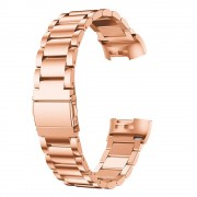 Three Beads Stainless Steel Watch Band Strap for Fitbit Charge 3 - Rose Gold