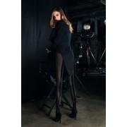 Trasparenze Elegant strumpbyxa med sammetsband och rosett Designer nero-rosso 1/2