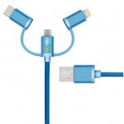 Cablu de date ABC Tech 617689528826, micro_SB - Lightning - Type-C, Universal, 0.3 m (Albastru)