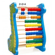 SUNONE11 Green Dinosaur Wooden Abacus Arithmetic Soroban Calculating Tool Rainbow Color Counting Beads for Math...
