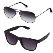 Code Yellow Grey Aviator Sunglass + Free Black Wayfarer (UV PROTECTED) Sunglass