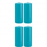 Trend Candles 4x Turquoise blauwe cilinderkaarsen/stompkaarsen 8 x 20 cm 119 branduren - Stompkaarsen